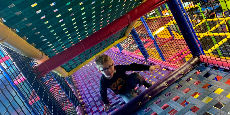 Run, Climb, and Play all day in the Play Maze at Bonkers
